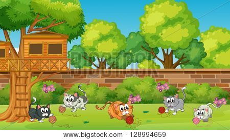 Five kittens playing in the garden illustration