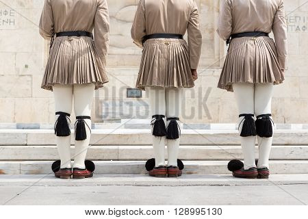 The Changing Of The Guard Ceremony Takes Place In Front Of The Greek Parliament Building
