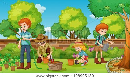 Family members happy in the garden illustration