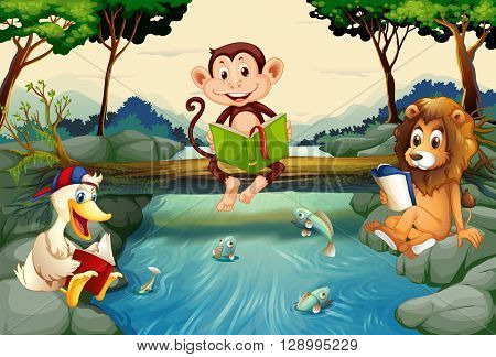 Wild animals reading books by the river illustration