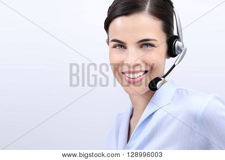contact us customer service operator woman with headset smiling isolated on white background
