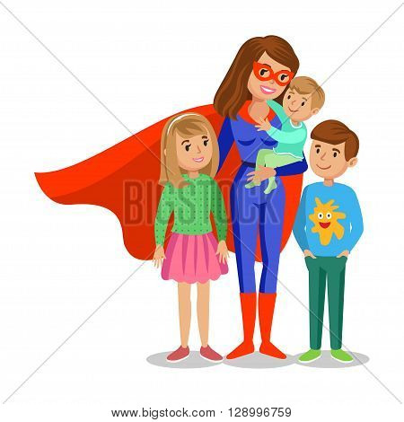 Cartoon superhero woman in red cape female superhero mother superhero with children's. Vector illustration