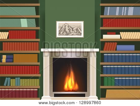 Classic interior with book shelves. Living room with bookshelves and fireplace vector illustration