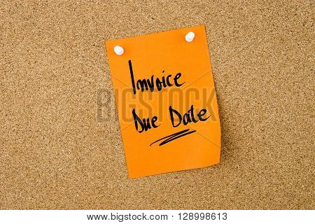 Invoice Due Date Written On Paper Note