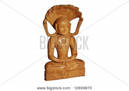 Wooden Buddha statuette with smile isolated over white background. Mass production souvenir.