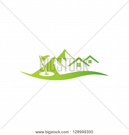 Golf camp over landscape isolated on the white background.