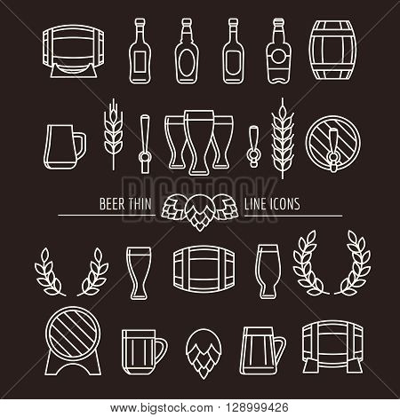 Beer thin line icons. Brewery outline signs with beer mug and beer bottle, brewing hops and beer barrels. Vector illustration