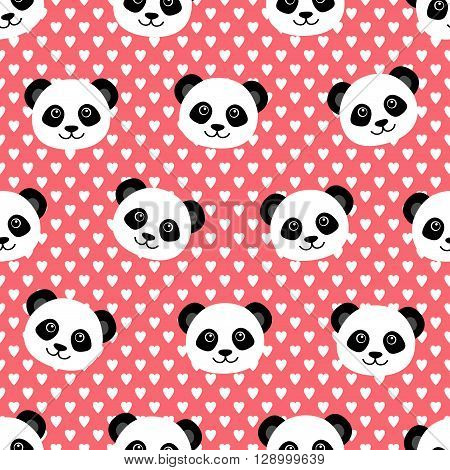 Seamless pattern with cute panda. Vector illustration