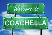 coachella vintage green road sign with blue sky background poster