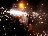 stock photo of 24th  - Colorful fireworks over dark sky displayed during Barcelona Patron Saint La Merce  - JPG
