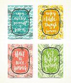 Постер, плакат: Set of Summer holidays greeting card or posters Summer calligraphy Summer vector Summer illustrat