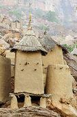 foto of dogon  - Close up of Dogon granaries at the base of the Bandiagara escarpment in Mali - JPG