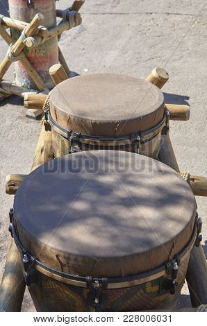 Drums In African Village Of