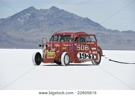 WENDOVER, UT - AUGUST 13: A 1942 Studebaker on the Bonneville Salt Flats during Bonneville Speed Week on August 13, 2011 near Wendover, UT.