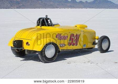 WENDOVER, UT - AUGUST 13: A 1931 Ford Roadster on the Bonneville Salt Flats during Bonneville Speed Week on August 13, 2011 near Wendover, UT.