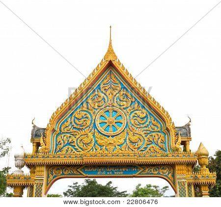 Thai Art On Gate Temple