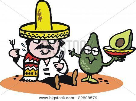 Vector cartoon of Mexican man with avocado