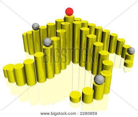 3D Gold Pyramide mit Kugeln