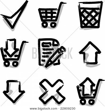 Web icons marker contour shop
