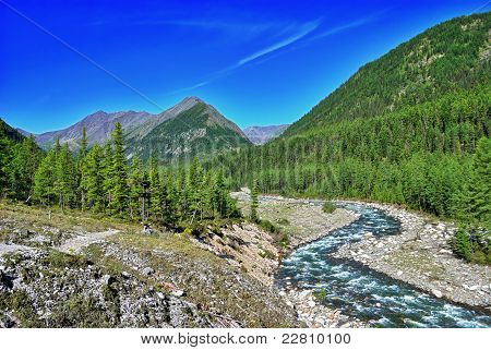 Bend Of A Mountain River