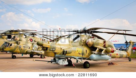 MOSCOW - AUG 16: Fully armed army attack helicopter at the International Aviation and Space salon MAKS 2011, August 16, 2011 at Zhukovsky, Russia