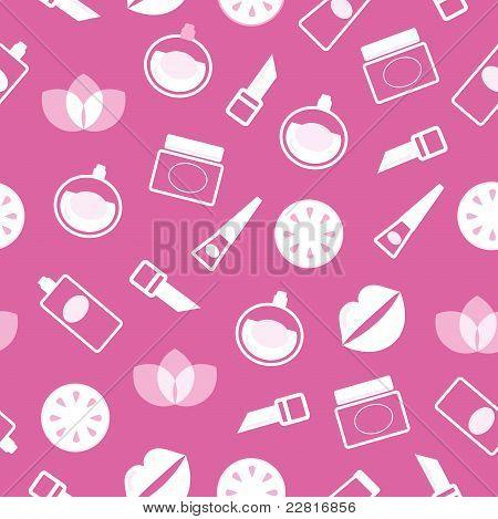 Cosméticos y bienestar de patrones sin fisuras o textura - rosa y blanco.