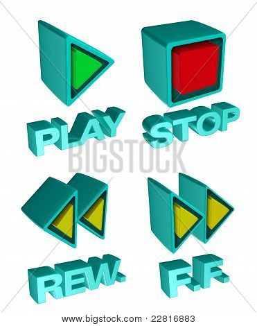 Rewind, Fast forward,stop and play 3d buttons