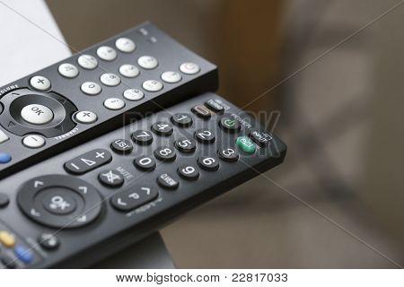Tv Remote Controls Close Up