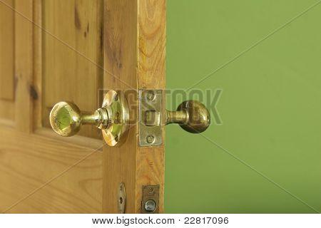 Open Interior Door With Brash Ironmongery
