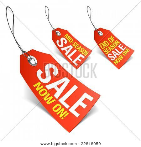 Sale now on and season sale tags. Vector.