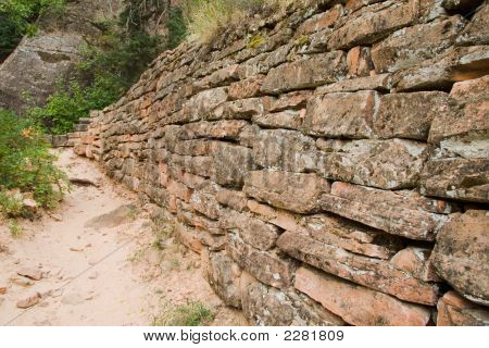 Stone Wall On Trail