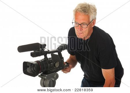 Professional video camera man on white background