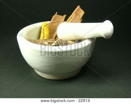 Ayurvedic Herbs In A Mortar