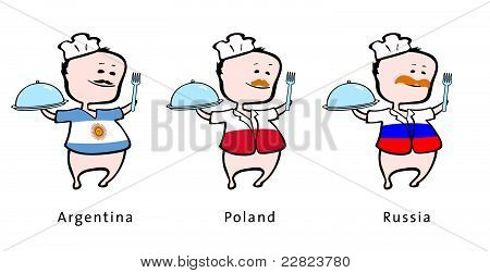 Chef of restaurant from Argentina Poland Russia - vector illustration