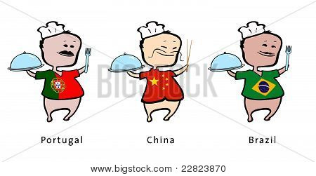 Chef of restaurant from Portugal China Brazil - vector illustration