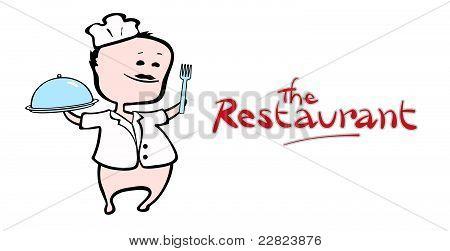 Chef of restaurant presenting a dish - vector illustration