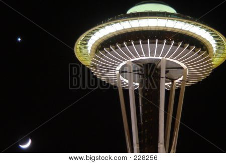 Moon Setting Over Seattle Space Needle