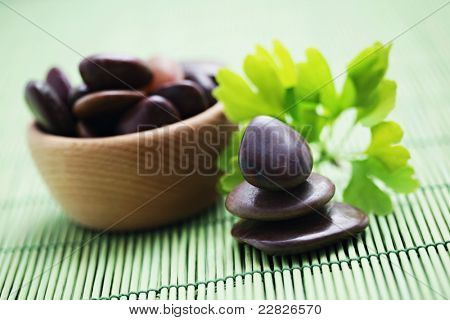 bowl of pebbles and ginko bilboa - beauty treatment