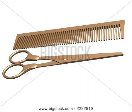 3D Scissors And Comb