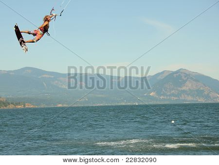 Kite Boarder flying high
