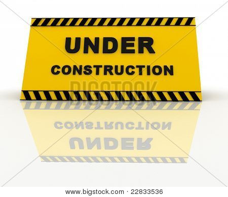 3D Under construction sign ? isolated over a white background