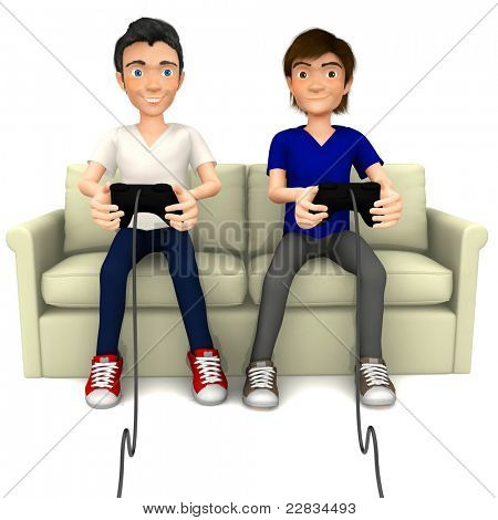 3D guys playing video games sitting on the sofa ? isolated over a white background