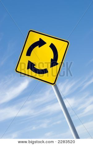 Yellow Roundabout Road Sign