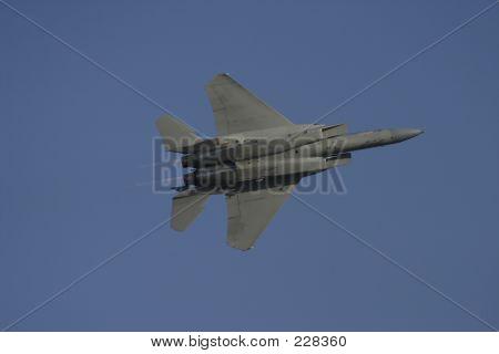 F-15 In Flight From Bottom