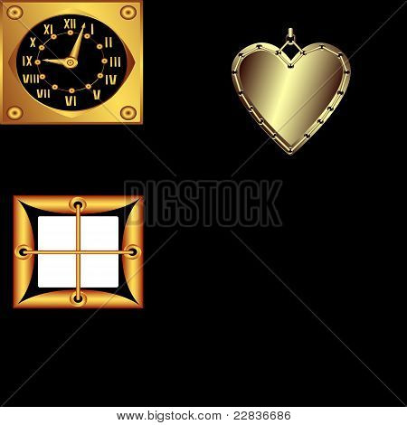 He Set Of Gold Decorative Vector Products
