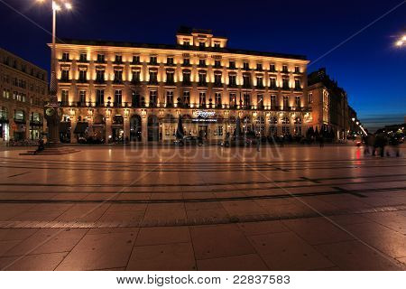 Night View Of Regent Hotel On The Square Of Grand Theater Of Bordeaux, Aquitaine, France.
