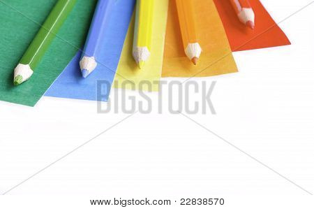 Colored Papers And Pencils