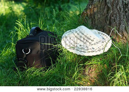 Photo Bag And Hat Are On The Green Grass