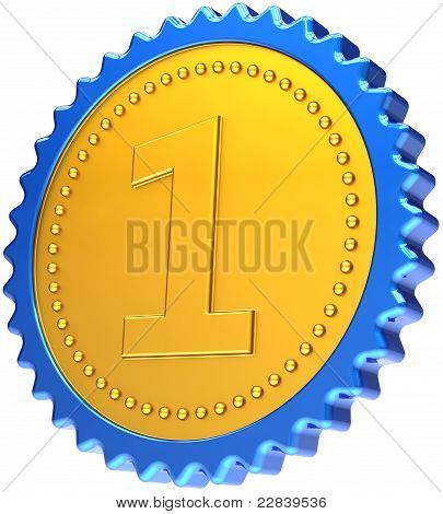 Award medal first place badge golden with blue border