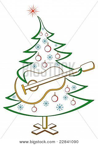 Fir-tree with guitar, pictogram